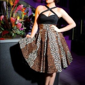 Deadly Dames Pinup Girl Clothing Leopard Skirt